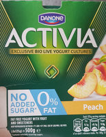Activia 0% Fat Peach Yogurt - Product