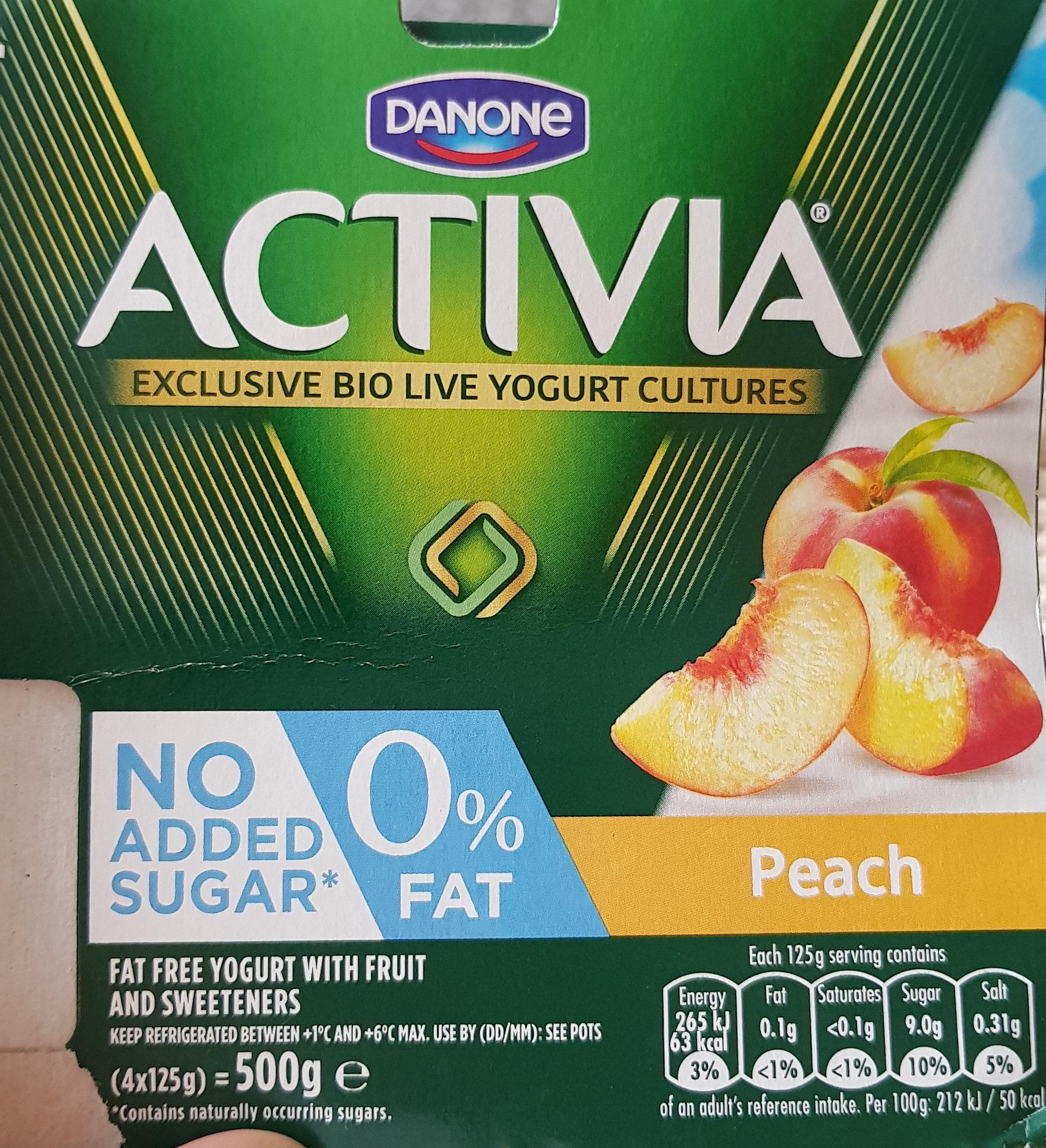 Activia 0% Fat Peach Yogurt - Produit