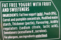 Activia 0% Fat Peach Yogurt - Ingredients