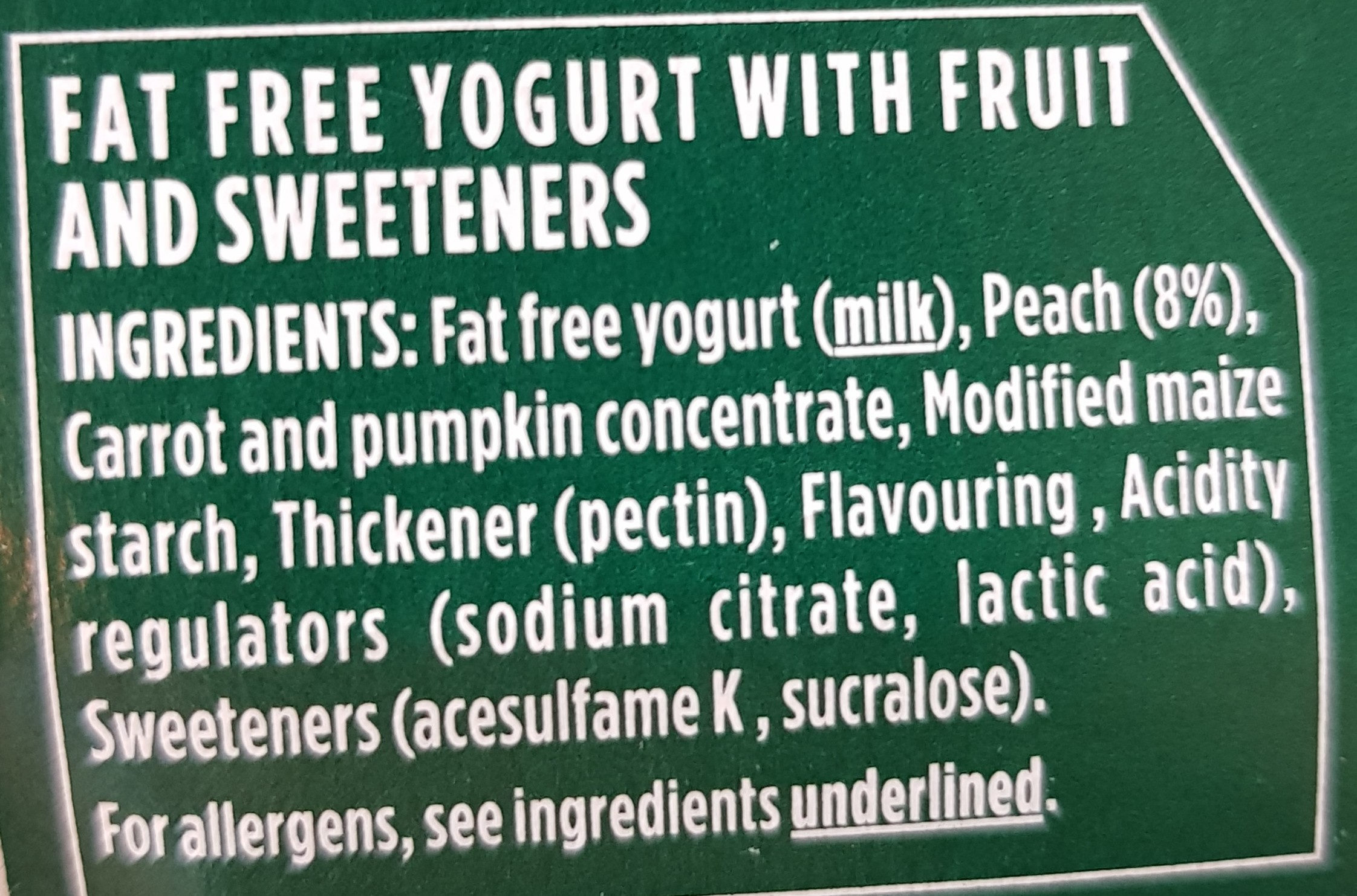 Activia 0% Fat Peach Yogurt - Ingrediënten