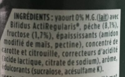 Activia 0% Fat Peach Yogurt - Ingrédients