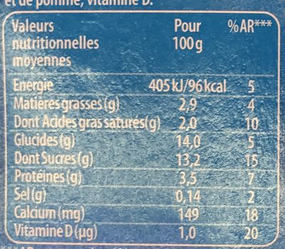 La Reine des Neiges Vanille - Nutrition facts - fr