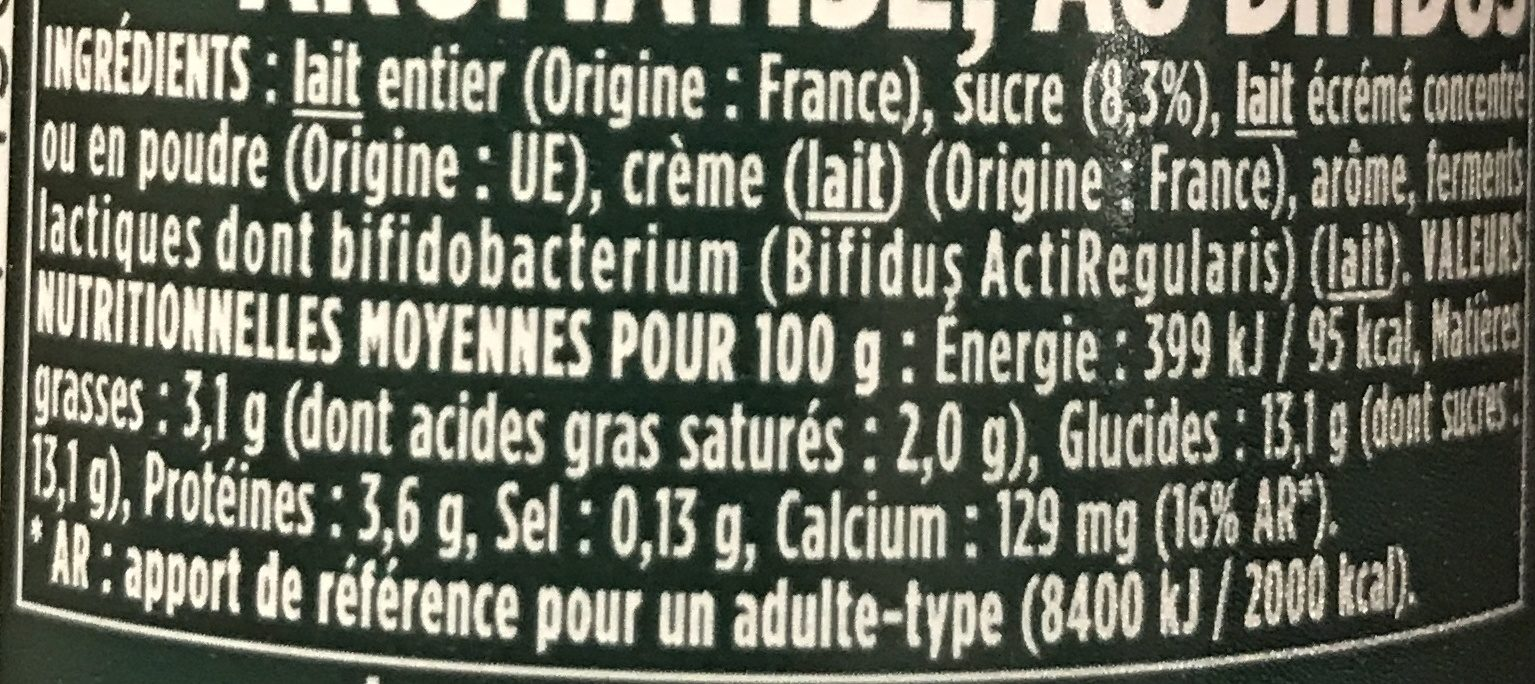 Yaourts saveur framboise Activia - Ingredients