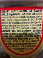 Danette Le Liégeois Saveur vanille - Nutrition facts - fr