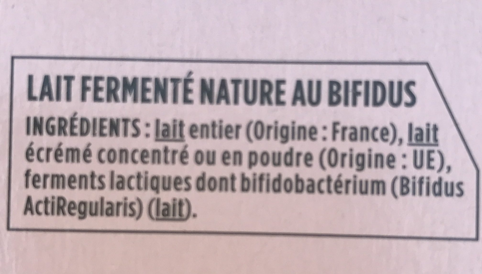 Activia Nature - Ingredients - fr