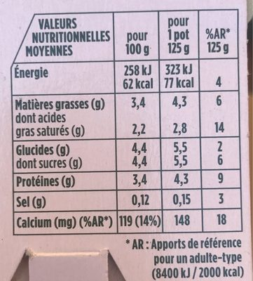 Activia Nature - Nutrition facts - fr