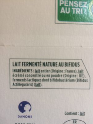 Activia  au bifidus, nature - Ingredients