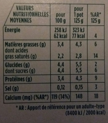 Activia  au bifidus, nature - Nutrition facts
