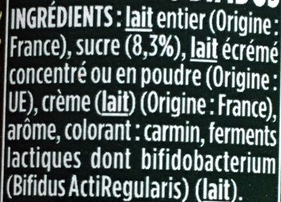 Yaourt saveur Framboise - Ingredients