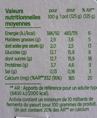 Activia saveur vanille - Voedingswaarden - fr