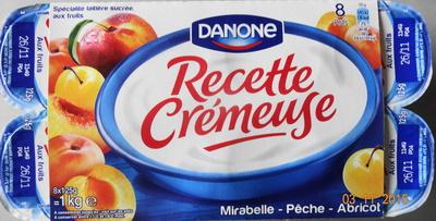 Recette Crémeuse, Mirabelle-Pêche-Abricot - Product - fr