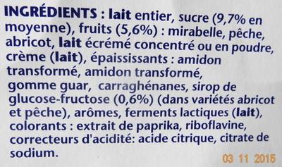 Recette Crémeuse, Mirabelle-Pêche-Abricot - Ingrediënten - fr