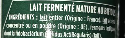 Activia nature - Ingredients