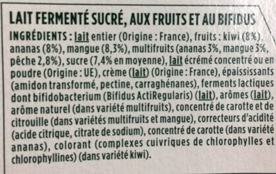 Yaourts fruits exotiques Activia - Ingredients