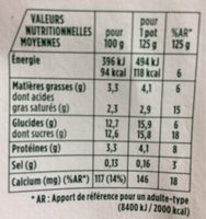 Yaourts fruits exotiques Activia - Nutrition facts