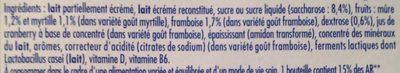 Actimel Goût Myrtille et Goût Framboise - Ingrédients
