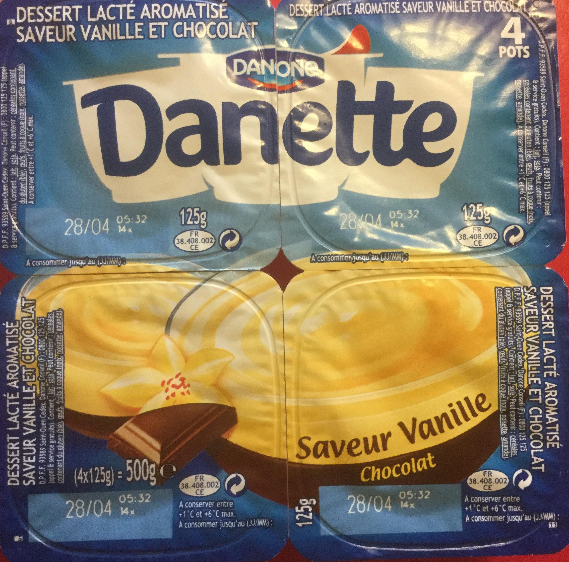 Danette saveur vanille & chocolat - Produit - fr