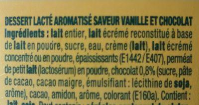 Danette saveur vanille & chocolat - Ingrédients - fr