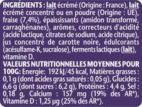 Taillefine aux fraises 0% matières grasses - Informations nutritionnelles - fr