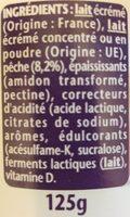 Yaourt 0% Pêche - Ingredienti - fr