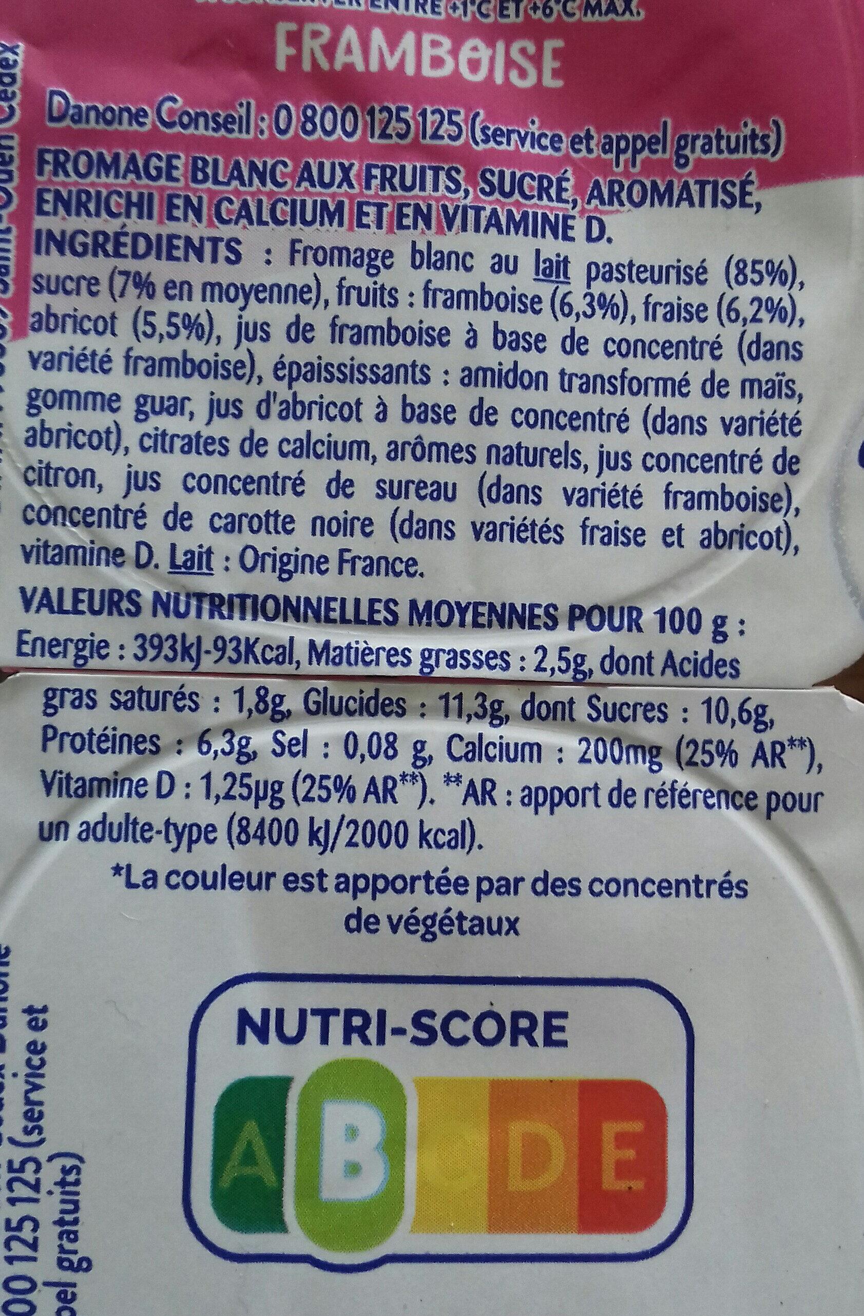 Fromages blancs aux fruits, framboise, abricot et fraise - Product