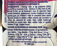 Fromages blancs aux fruits, framboise, abricot et fraise - Ingredients