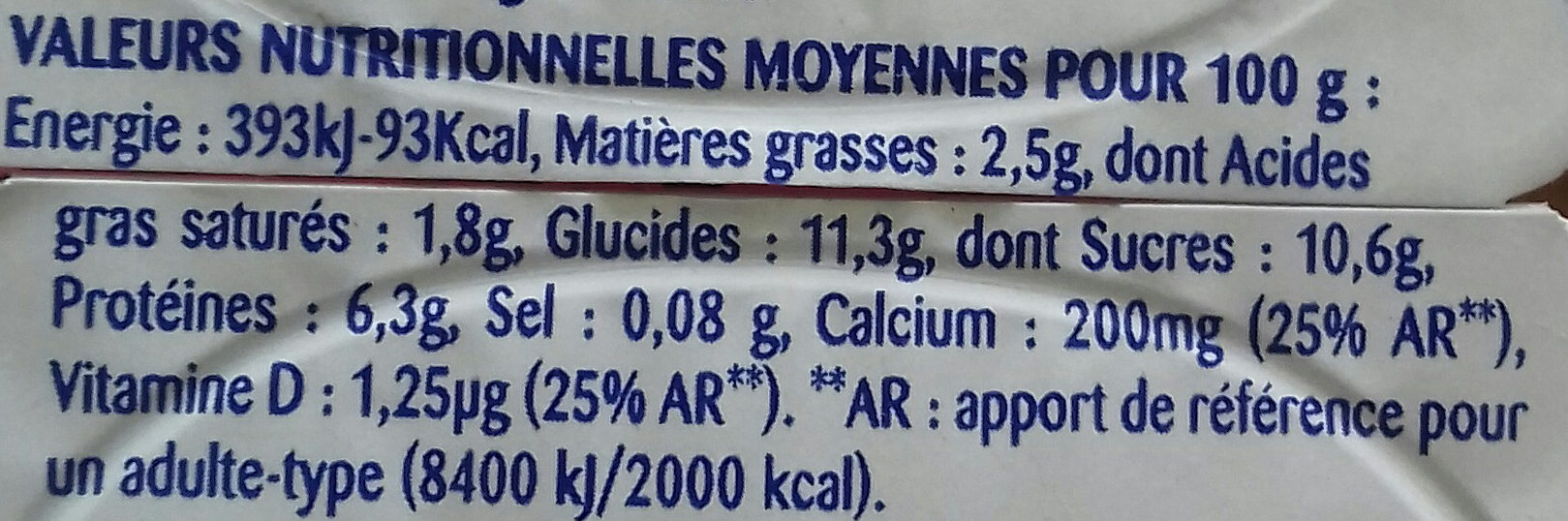 Fromages blancs aux fruits, framboise, abricot et fraise - Nutrition facts