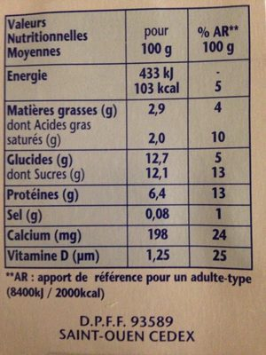 Danonino aux fruits - Ingredients