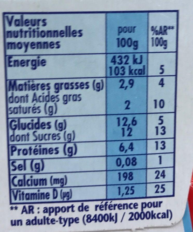 Danonino aux fruits Fraise Pêche/Poire - Nutrition facts