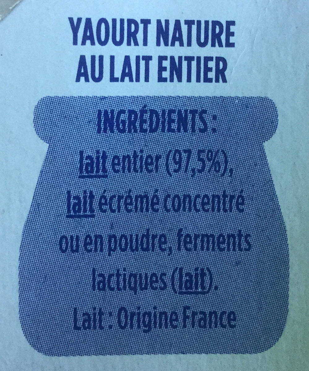 Yaourt au lait entier nature - Ingrediënten