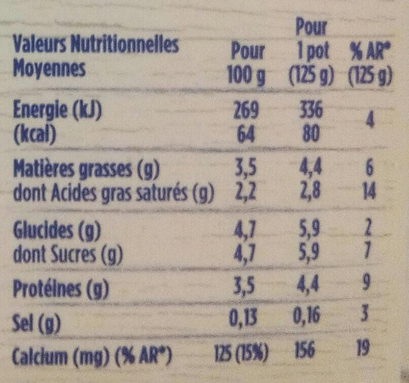 Yaourt au lait entier nature - Voedigswaarden