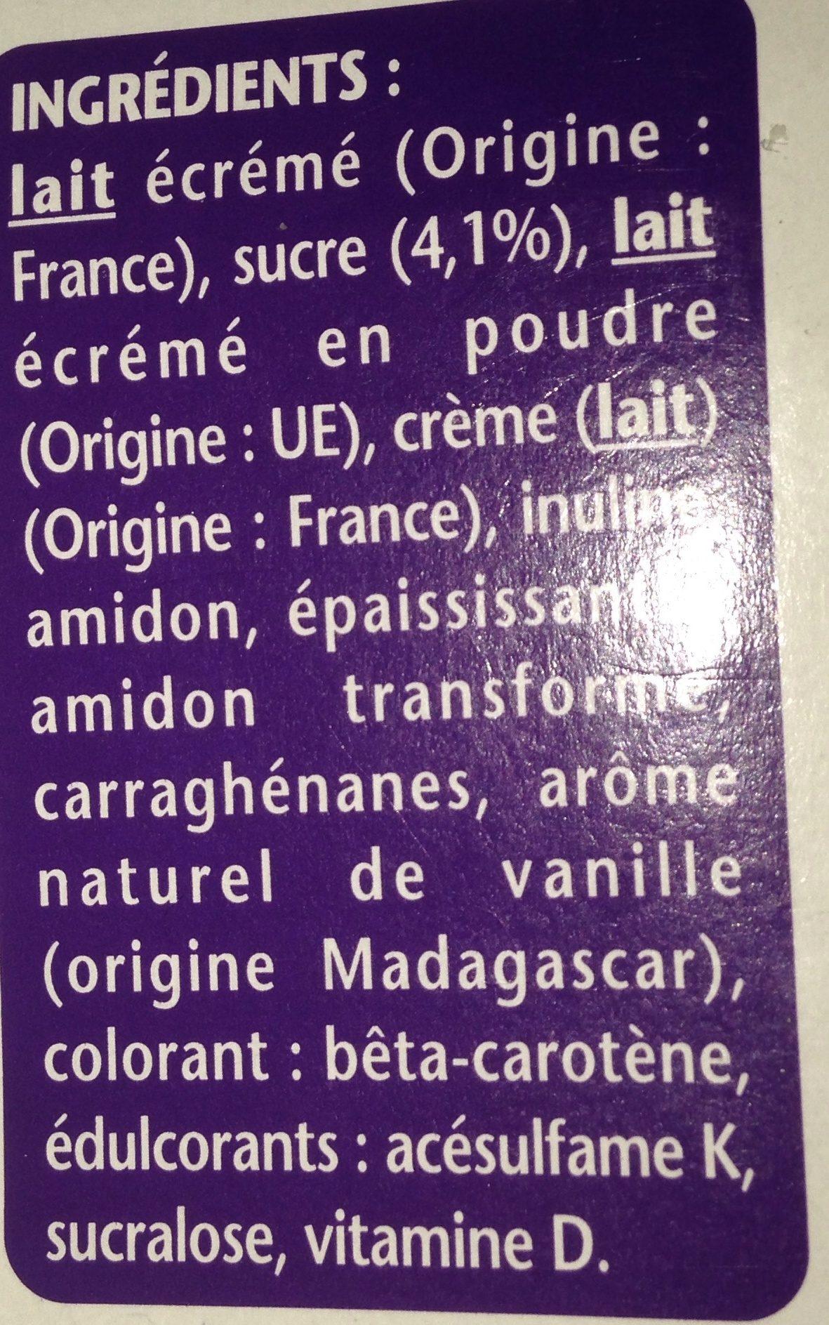 Plaisirs Vanille - Ingrédients