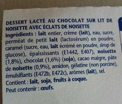 Danette chocolat lit croquant de noisettes - Ingredients