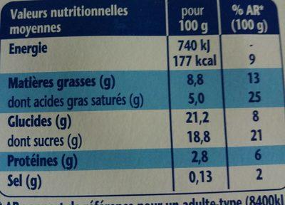 Danette chocolat lit croquant de noisettes - Nutrition facts