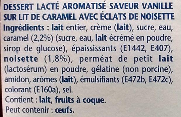 Liégeois Vanille sur Lit Croquant Caramel Noisettes - Ingrédients - fr