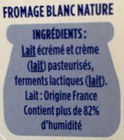 Le Fromage Blanc - Ingrédients - fr