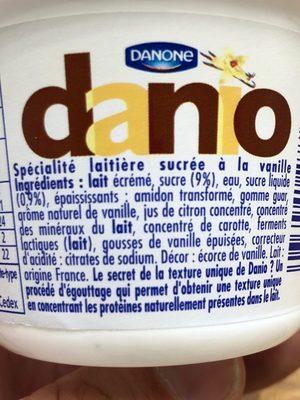 Danio Vanille 0% MG - Ingrédients - fr