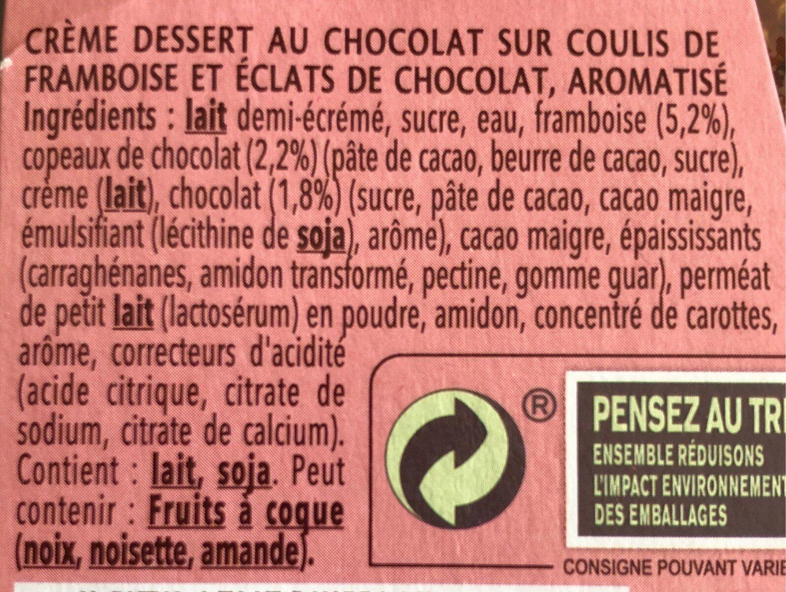 Danette & Fruit sur coulis de framboise et éclats de chocolat - Ingrediënten - fr