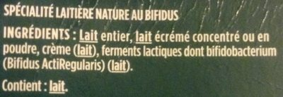 Activia au bifidus brassé nature sans lactose - Ingredients - fr