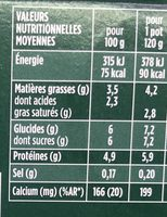 Activia au bifidus brassé nature sans lactose - Nutrition facts - fr