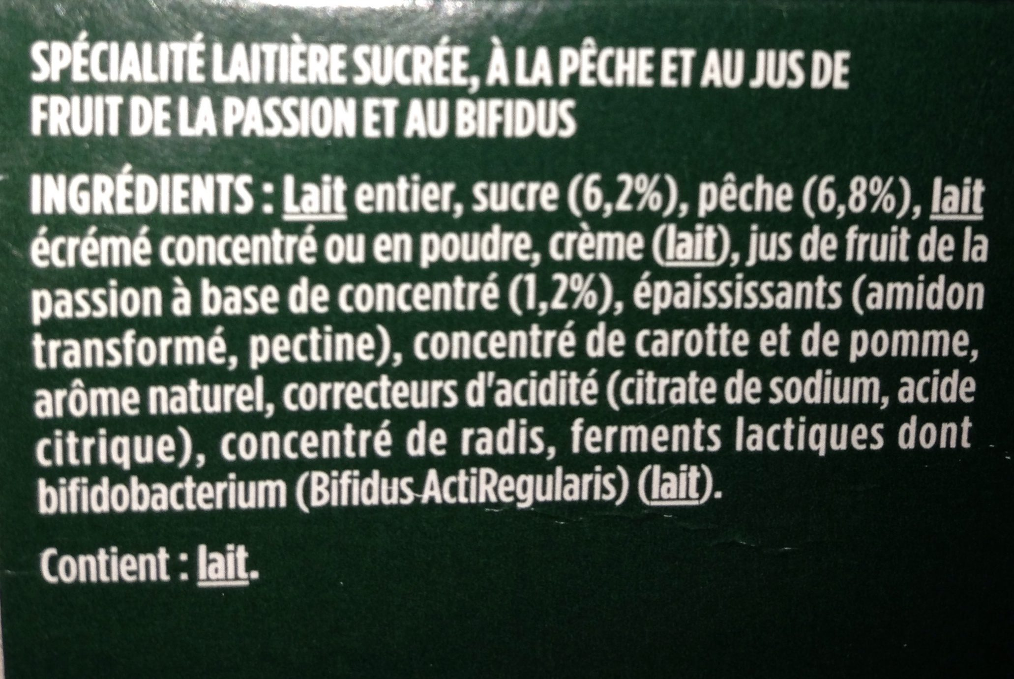 Activia Pêche Passion - Ingrédients - fr