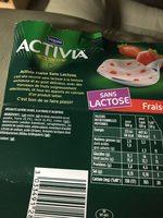 Activia sans lactose fraise - Ingrediënten