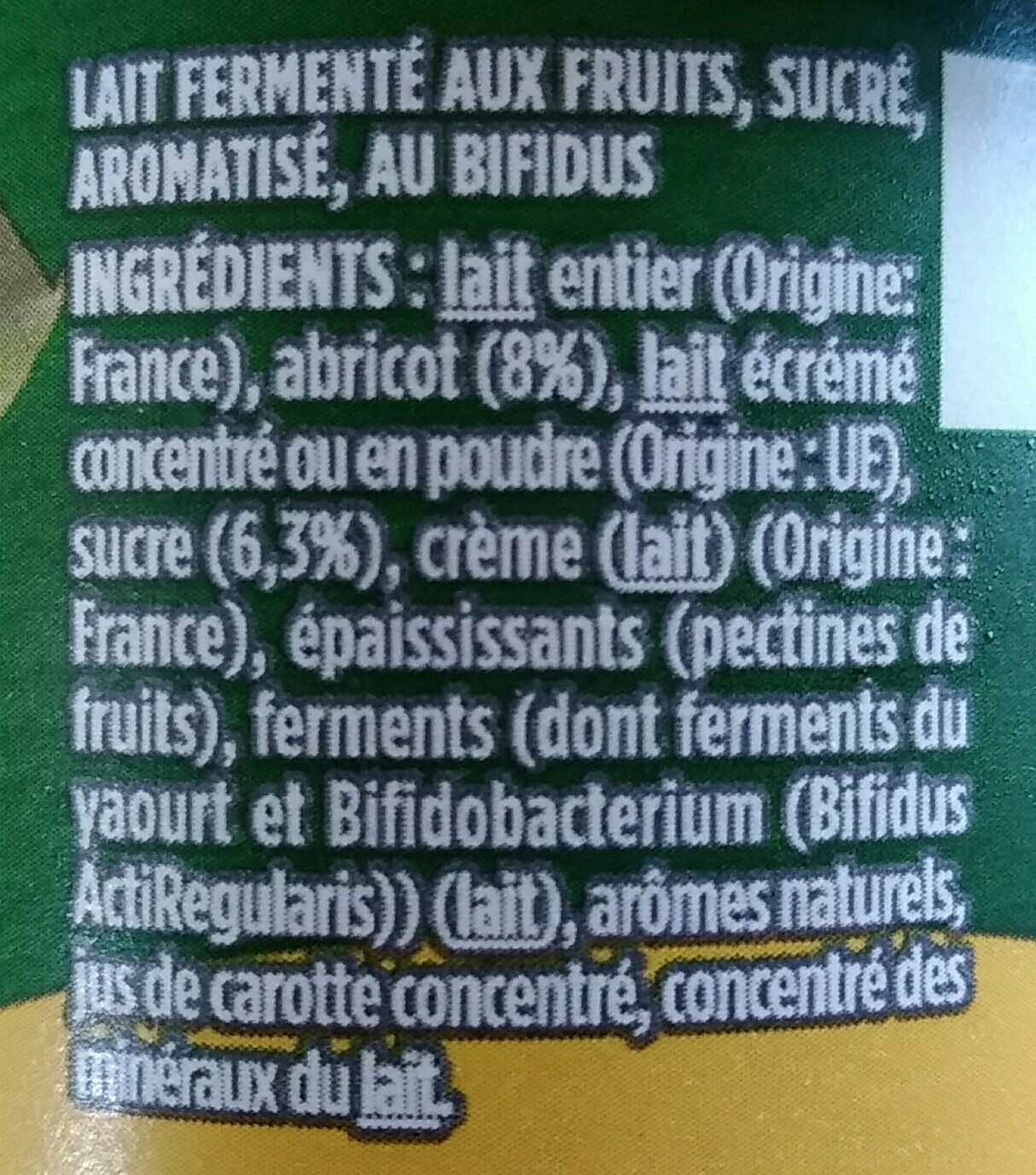 Activia abricot - Ingredients - fr