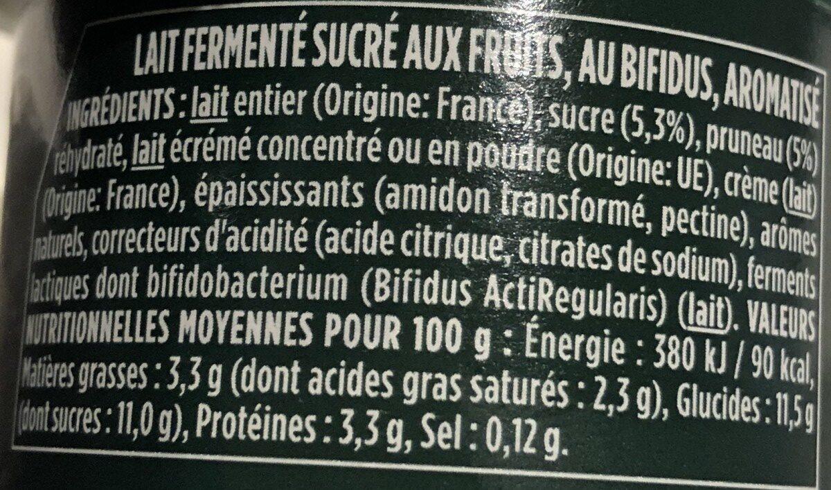 Activia saveur Pruneaux - Ingredients