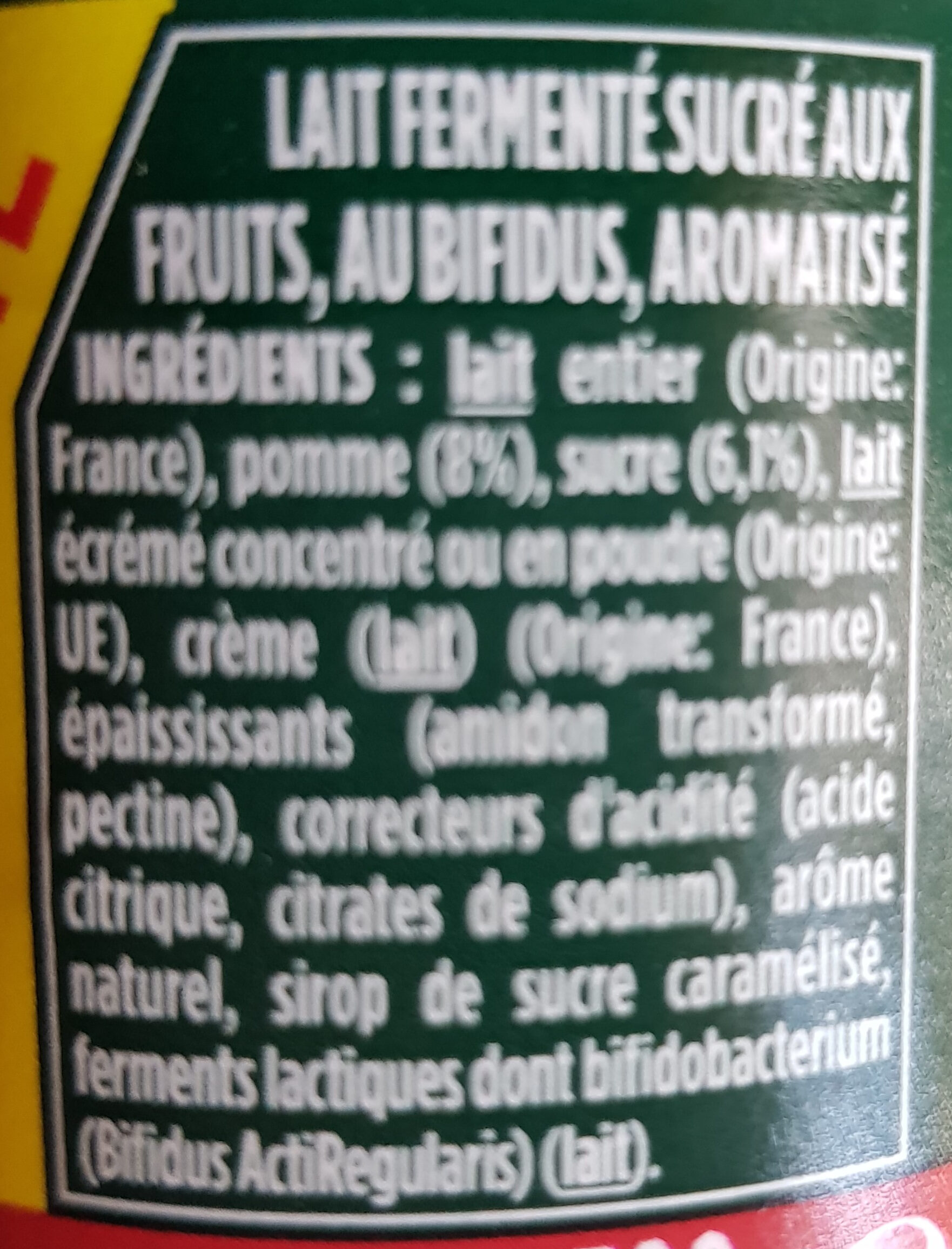 Yaourt pomme - Ingredients