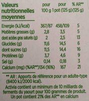 Activia au bifidus - Valori nutrizionali - fr