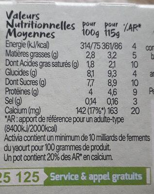 Activia Figues au Bifidus - Nutrition facts - fr