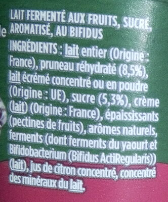Activia pruneau - Ingredients