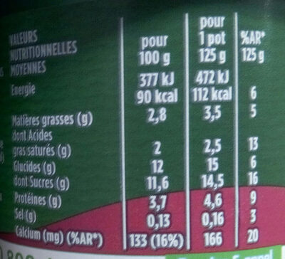 Activia pruneau - Nutrition facts