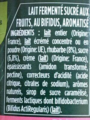 Activia rhubarbe - Ingrédients